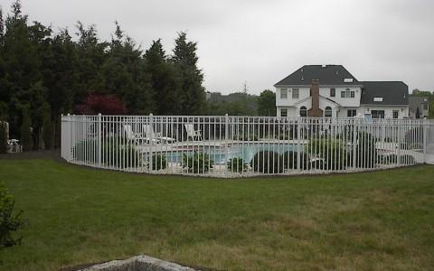 White Aluminum Pool Fence (Alt. View)